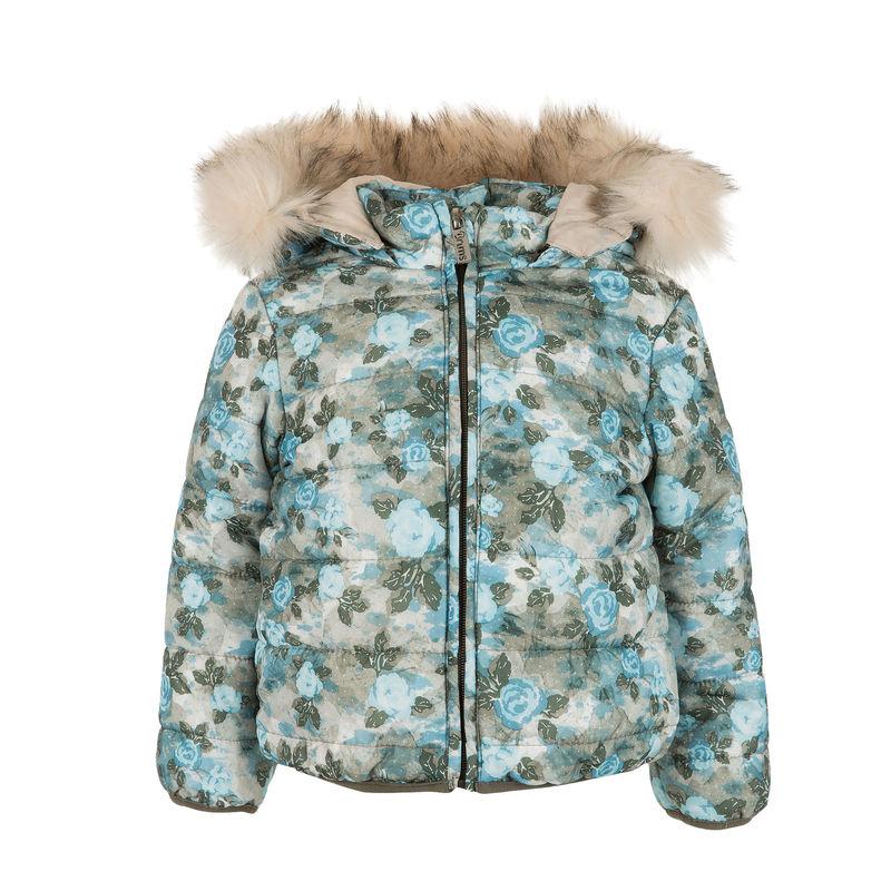 Куртка голубая с цветочным принтом