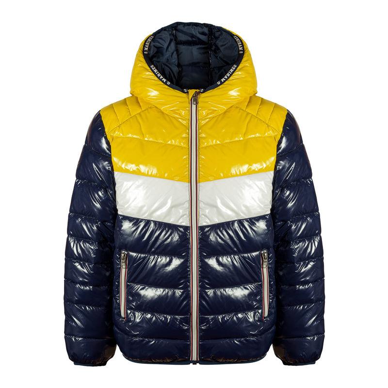 Куртка с капюшоном сине-желтая