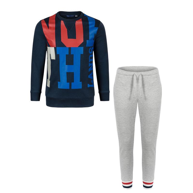 Спортивный костюм (толстовка и брюки) сине-серый