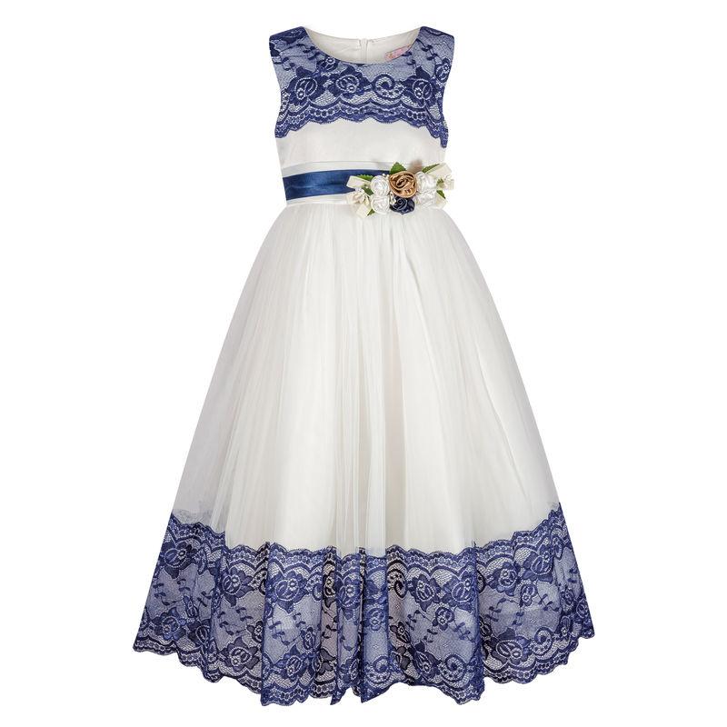 Платье айвори с темно-синим кружевом