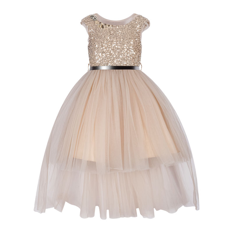 Платье с пайетками, бежевое