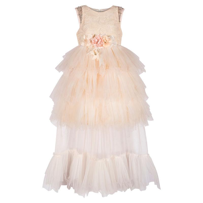 Платье бежево-розовое со шлейфом