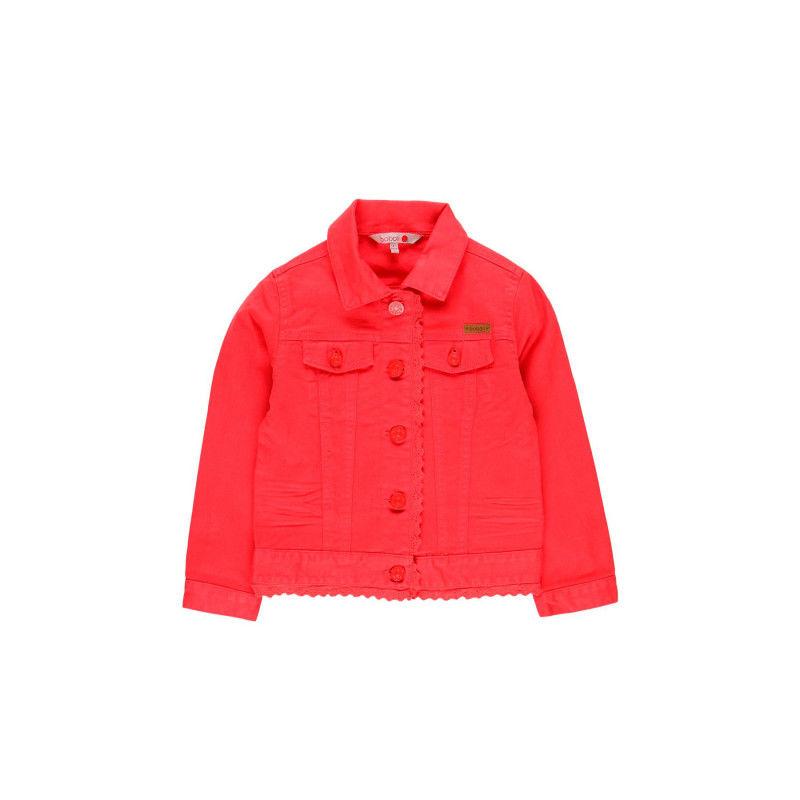 Джинсовая куртка красная