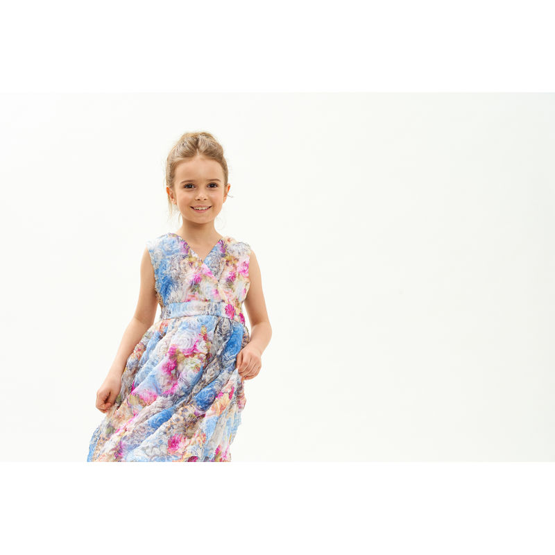 Платье голубое с цветочным рисунком