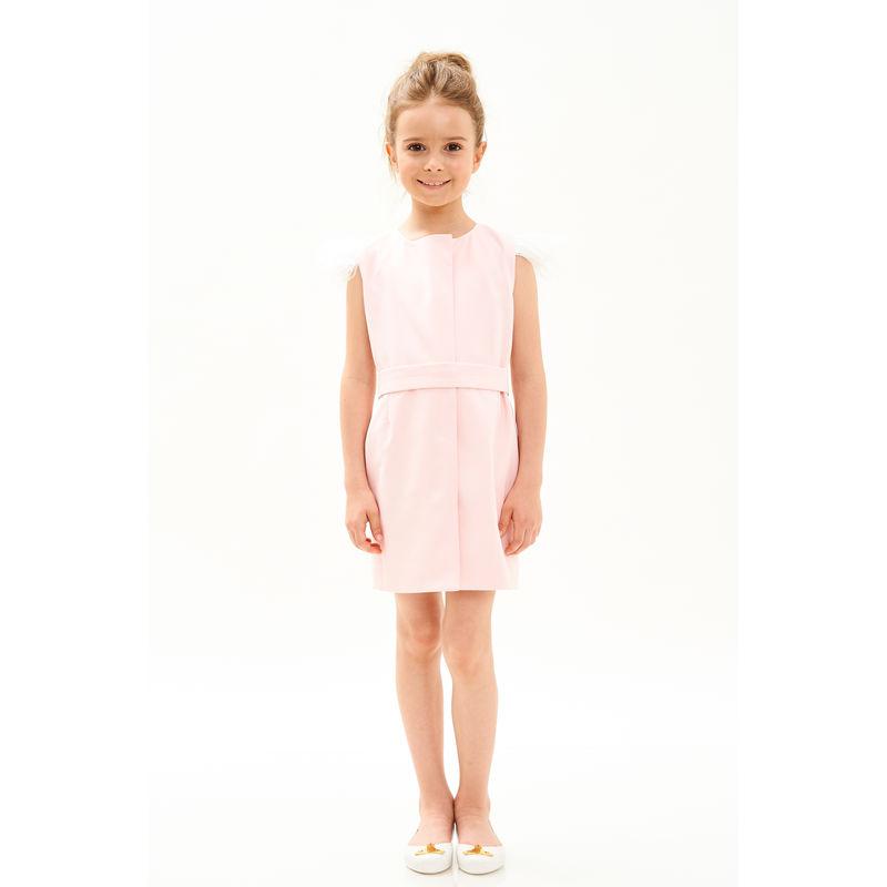 Платье розовое с белыми перьями на рукавах