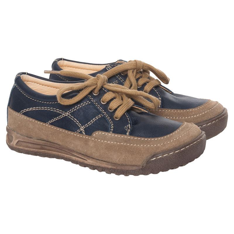 Ботинки бежево-синие на шнурках