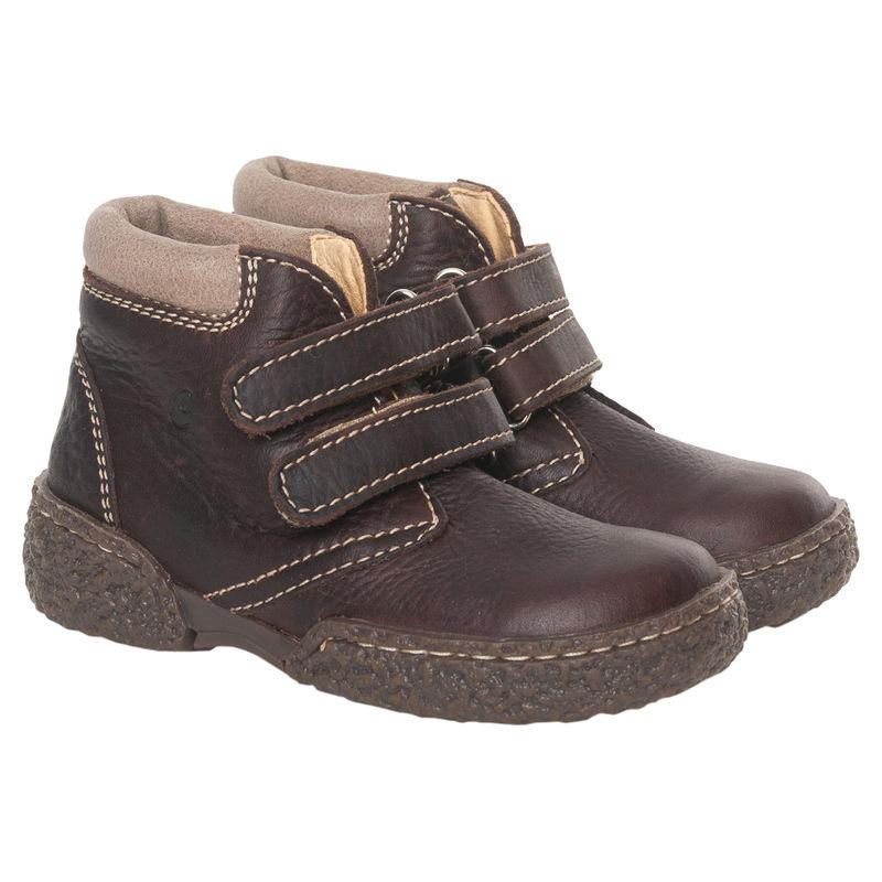 Ботинки тёмно-коричневые на липучках