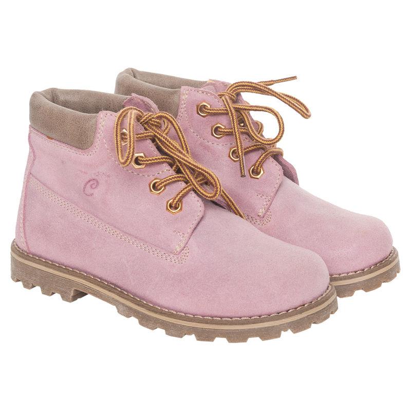 Ботинки розовые на шнурках