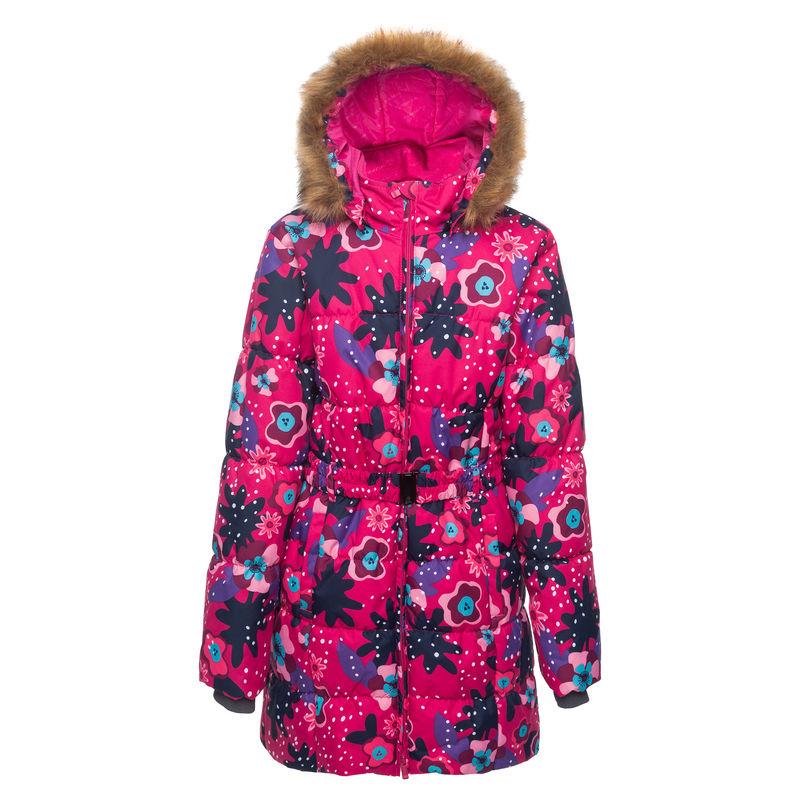 Пальто цвета фуксия с принтом