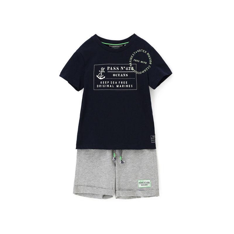 Комплект тёмно-синий: футболка и шорты