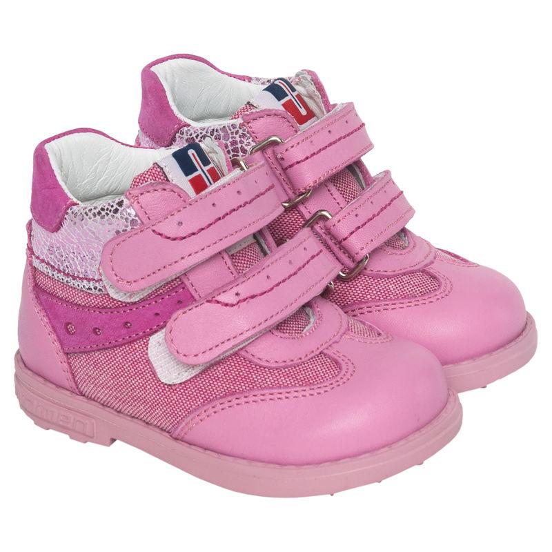 Ботинки розовые на липучках
