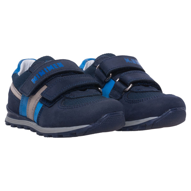 Кроссовки тёмно-синие на липучках