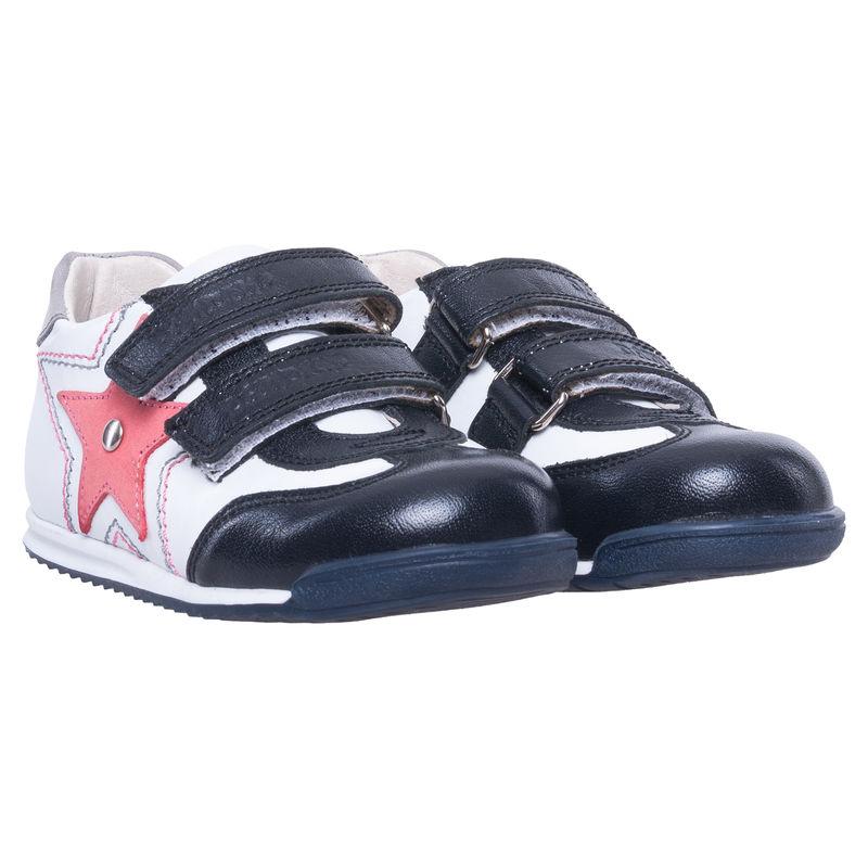 Кроссовки чёрно-белые на липучках