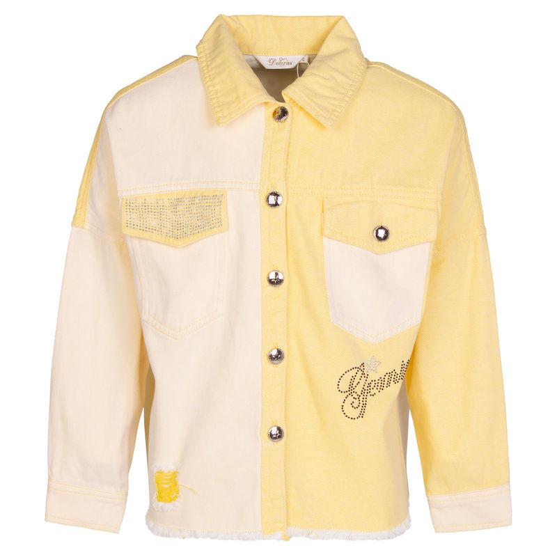 Джинсовая куртка жёлтая с принтом