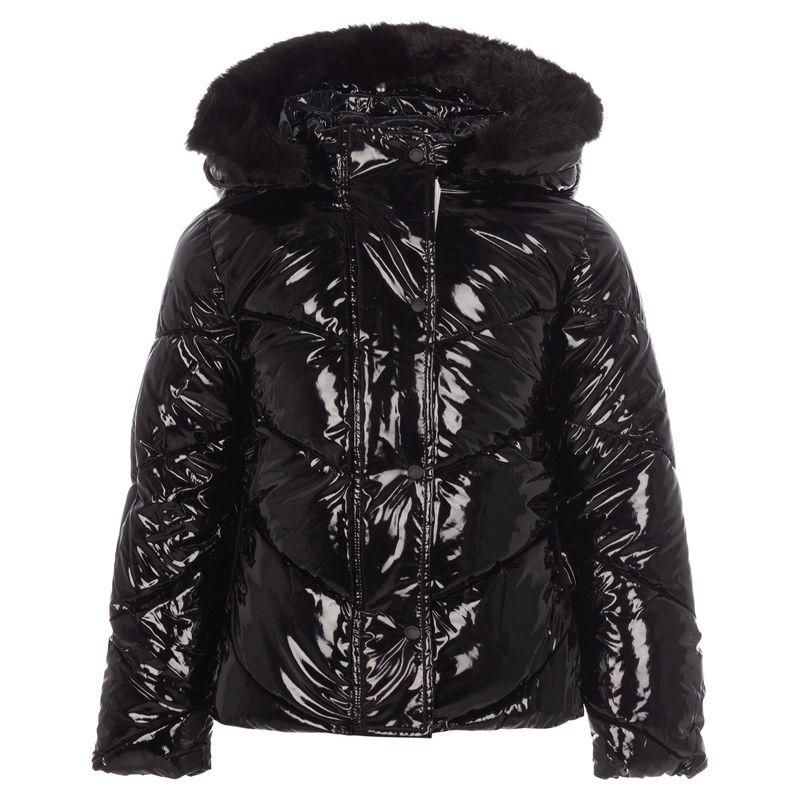 Куртка черная лакированная с мехом