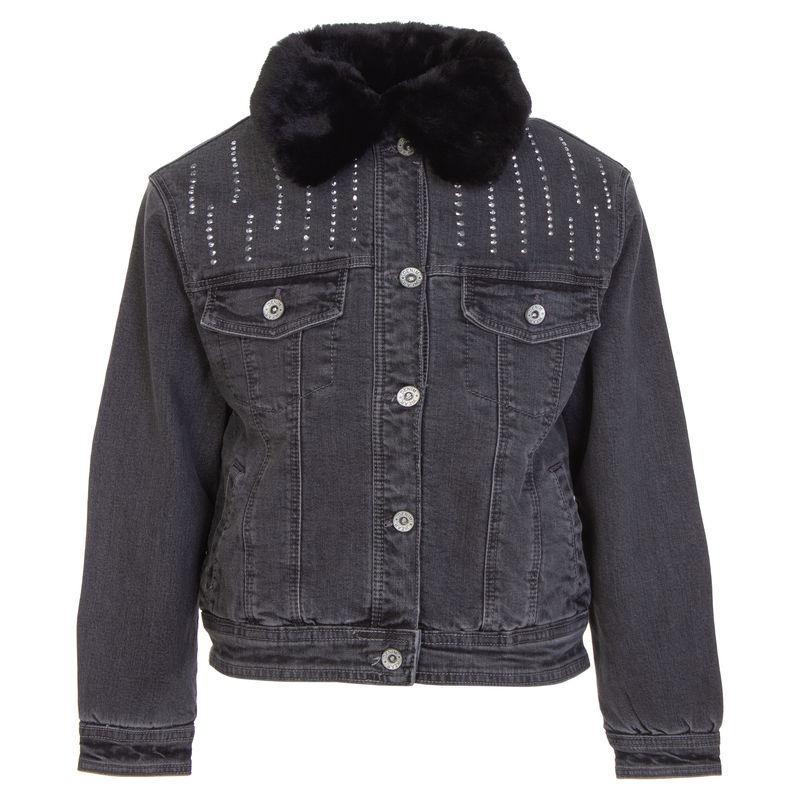 Куртка джинсовая с меховым воротником